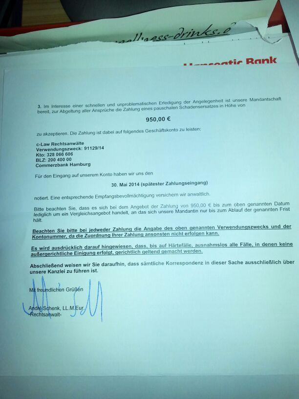 Illegaler Download (uTorrent) - Brief von Anwaltskanzlei | raid.rush